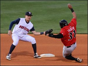Toledo shortstop Hernan Perez tags out Indianapolis' Jose Tabata on an attempted steal to 2nd base.