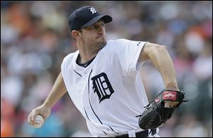 Detroit Tigers starting pitcher Max Scherzer throws during the first inning Thursday in Detroit.