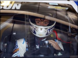 Jimmie Johnson in his car and ready to drive.