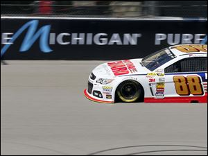 Dale Earnhardt Jr. drives around the track during practice.