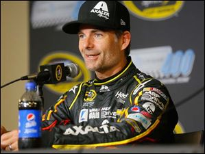 Jeff Gordon speaks to the media during a news conference about the Pure Michigan 400.