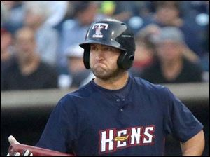 Hens17p- The Mud Hens' Tyler Collins grimaces after striking out during the bottom of the fourth inning.