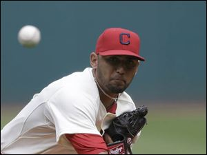 Cleveland Indians starting pitcher Danny Salazar delivers a pitch against the Baltimore Orioles.