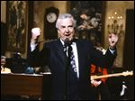 Announcer Don Pardo on the set of