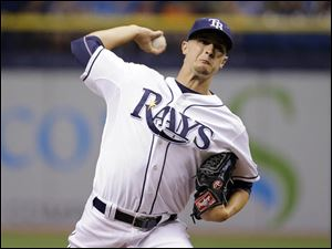Tampa Bay Rays starting pitcher Jake Odorizzi delivers to the Detroit Tigers.