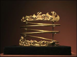 A spiraling torque from the second century A.D., is displayed as part of the exhibit called The Crimea - Gold and Secrets of the Black Sea, at Allard Pierson historical museum in Amsterdam.