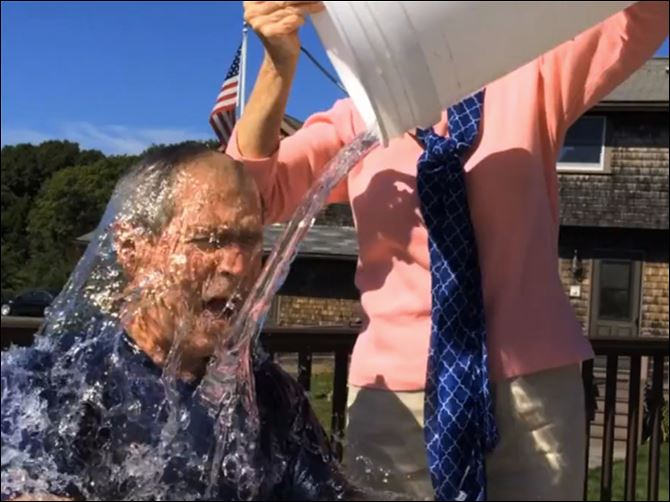 Bush Ice Bucket Challenge Former President George W. Bush participates in the ice bucket challenge with the help of his wife, Laura Bush, in Kennebunkport, Maine.