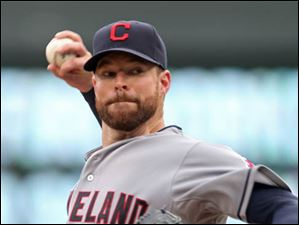 Cleveland Indians pitcher Corey Kluber throws against the Minnesota Twins.