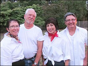 Karen and Carl Fraker, Raquel Bravo and Steve Scarvelis.