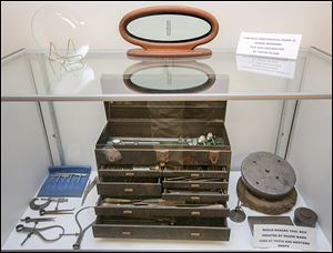 A mold makers toolbox is  among the items displayed in  the new archival room.