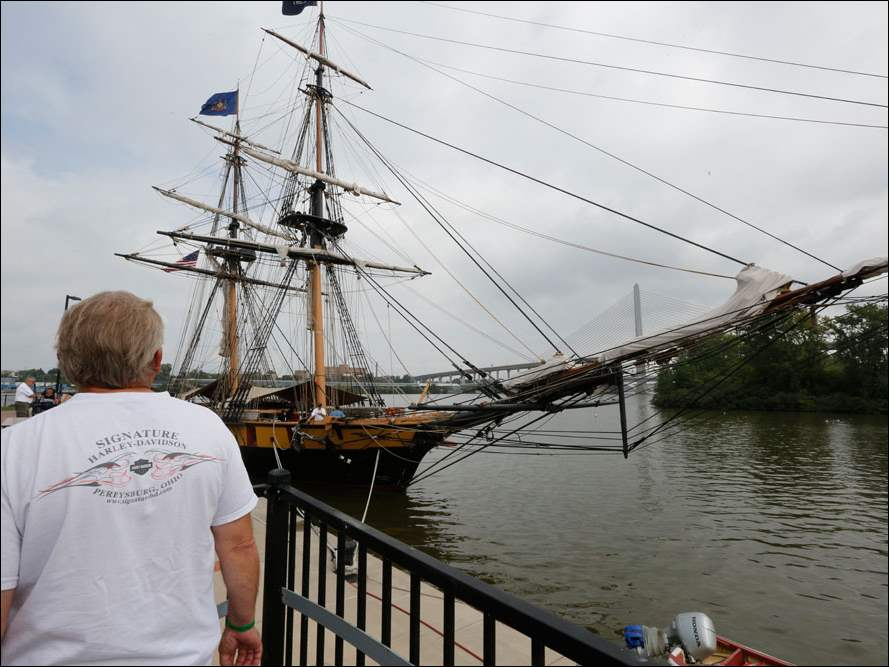 Bill Duwve of Erie, Mich., near the U.S. Brig Niagara. Both the U.S. Brig Niagara and the Col. James M. Schoonmaker museum ship were open for tours.