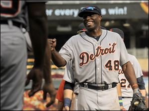 Detroit Tigers' Torii Hunter (48) celebrates a 13-4 win over the Minnesota Twins.