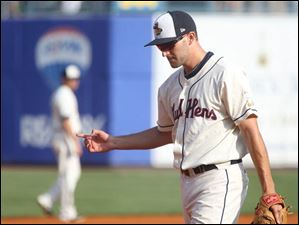 Mud Hens' Wade Gaynor signals to his teammates.