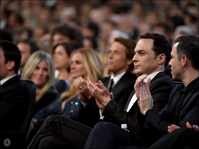 66th Primetime Emmy Awards - AudienceJim Parsons poses in t Jim Parsons poses in the audience at the 66th Primetime Emmy Awards at the Nokia Theatre L.A.
