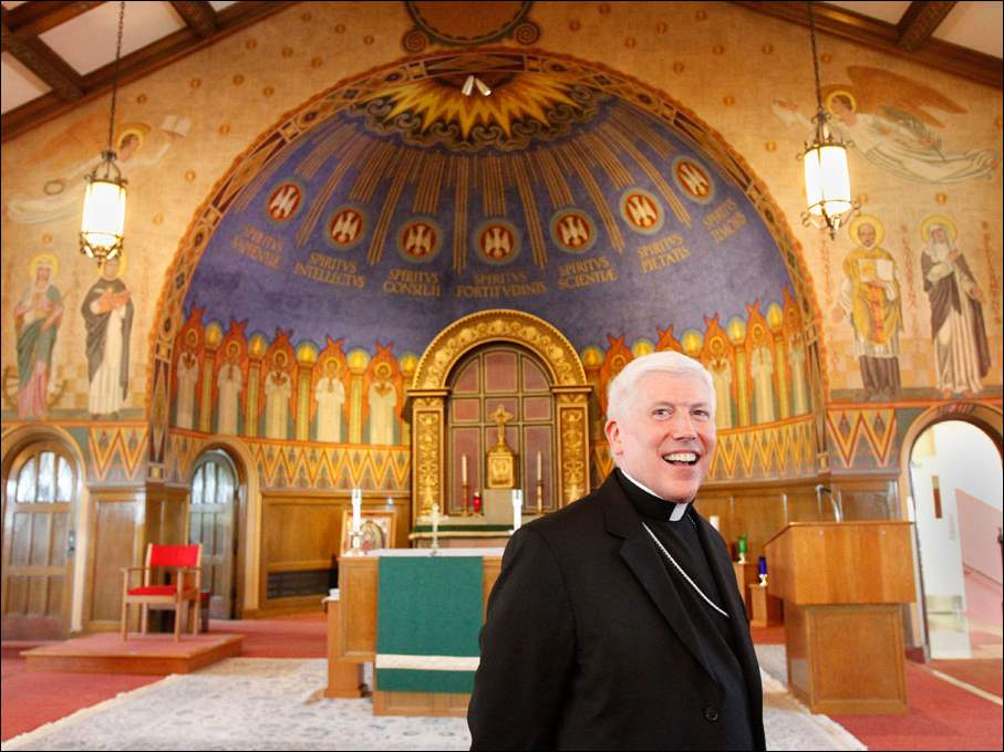 Bishop Daniel E. Thomas, the new bishop of Toledo, visits the chapel inside Central Catholic High School.
