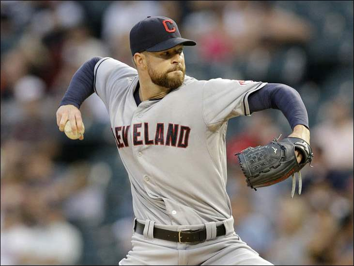 Cleveland Indians starter Corey Kluber throws against the Chicago White Sox.