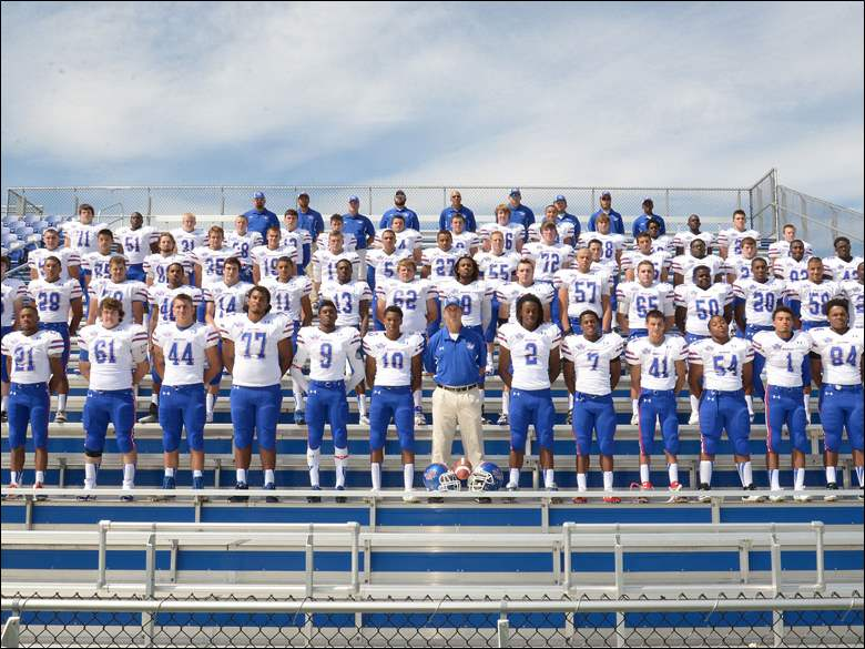 2014 Springfield Blue Devils football  not Blade photo Springfield football 2014 FROM LEFT Row 1: TrayShawn Jones, Charles Buchanan, Alex Engelhardt, London Edwards, Anthony Bronaugh, Kevin McLemore, Pat Gucciardo, AJ Harrison, Aren Harris, Brandon Grohnke, Davion Burton, Tevin Stuart, Robert Prior, JaSean Fisher. Row 2: Nick Bratton, Darian Duhart, Justin Ridley, Marquan Batts, Noah Patten, D'Andre Hicks, Melvin Wells, Kelsey Brown, David Robinson, Michael Grindle, Justin Welch, Austin Eversman, Akei Coffman, Daniel Brown, Alec Taylor, Freddie Johnson, Stephan Robinson. Row 3: Zach Smith, Zach Meyette, Dallas Giesege, Wyatt Brown, Logan Gorey, Scottie Seymour, Johnny Martin, Bryant Koback, Zach Kurtz, Justin Dilworth, Ethan Leonard, Steve Flores, Steve Wilkes, Josh Patten, Chris Hamer, Vincent Fell. Row 4: Kane Walton, Bryan Rogers, Garrett Raney, Kyle Borchers, Jayme Robinson, Dylan White, Tom Carmony, Evan Lonsway, Joe Young, Pernell Fountain, Gavin Robie, Jerry Kelly, Lamar Witcher, Cody Albright. Not picutred - Bryant Jackson.
