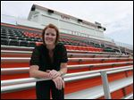 Southview athletic director Susie Felver, standing in the new home bleacher section of the new Mel Nusbaum Football Stadium at her school.