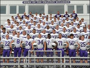 2014 Swanton High School football team photo  FROM LEFT Row 1: JD Reisinger, Robbie Gilsdorf, Dylan Sanderson, Jack Waldron, Matt Rainey, Thomas Bryant, Colton Lucio, Jake Timpe, Jordon Nyler, Bryce McComb. Row 2: Noah Johnston, Dean Sego, Zach Nowakowski, Antonio Cervantes, Owen Dodd, Justin Timpe, Nick Sienkiewicz, Caleb Brown, Anthony McCaw. Row 3: Anthony Westfall, Daniel Marks, TJ Baker, Ben Burke, Austin Jones, Sam Incorvaia, Hunter Schad, Deric Mersereau, Chase Fetterman, Tylor Prentice. Row 4: Aaron Hazlett, John Swing, Keaton Davis, Jonathan Shanks, Connor Yaney, Zach Dziengelewski, Nick Rainey, Dakota Straub, Evan Lutz. Row 5: Crew Oberheim, Zack Leahey, Gage Pachlhofer, Lukas Reiner, Zach Bloom, Gunnar Oakes, Chase Avalos, Nick Koback, Tanner Prentice, Christian Aumiller. Row 6: Brock Ueberroth, Hunter Albert, Fred Blankenship, Isaac Thomas, Skyler Ulch, Marek Spiess, Bryton Boone, Greg Wilson, Dustin Sego. Row 7: Dylan Cook, Chase Moore, Noah Saunders, Tommy Lytle, Josh Kohlhoffer, Reece Pawlowicz, Branson Knott, Robert Dulap, Ethan Frost. Row 8: Genna Fucos, Tim Spiess, head coach Mike Vicars, Anthony Howard, Joshua Wilson, Weston Miller, Mark Nagel, Daniel Grime, Dennis Dziengelewski. Not Pictured: Clayton Ringle, Andy Marashdeh, Scott Floyd, Ryan Vicars, Dustin Lytle.