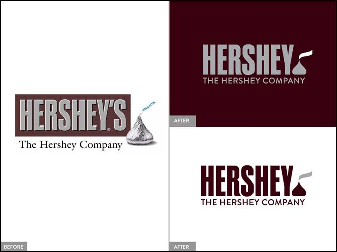 Hershey Logo Change This image provided by The Hershey Company shows the company's old, left, and new, right, corporate logos.