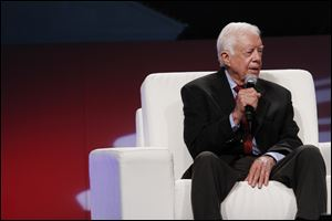 Former United States President Jimmy Carter delivered the keynote speech at the 51st Annual Islamic Society of North America Convention, at the Cobo Center in Detroit.