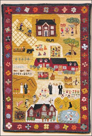 """Judy and Larry Quintman's Story"", by Judy Quintman, of Wilmington, N.C., a Folklife rug, it depicts aspects of the Quintmans' life."