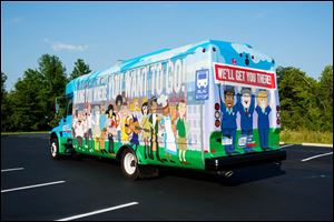Lake Erie Transit's vinyl wrapped bus, which debuted in Monroe in August, will start traveling in Bedford and Bedford Township. Some of the characters were inspired by real patrons and employees.