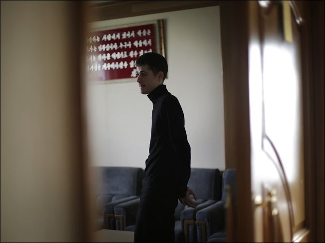 North Korea Detained Americans Mathew Miller, an American detained in North Korea, waits in a room after speaking to the Associated Press, today in Pyongyang, North Korea.