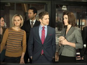 From left,  Jess Weixler, Matt Czuchry, and Julianna Margulies in a scene from 'The Good Wife,' which has replenished the stripped-bare courtroom genre with complex storylines that employ human relationships as much as legal brinksmanship.