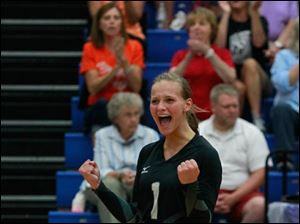 Otsego's Abby Hesselschwardt reacts to a point.