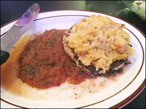 Mushroom Stuffed - portabella mushroom stuffed with lobster and crabmeat/tomato-dill sauce