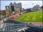 The outfield of Fifth Third Field is turned into a mini-golf course.