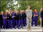 Matthew Elwing-Tresnan observes a moment of silence during the Patriot's Day Ceremony at Penta Career Center.