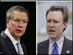 FILE - These 2014 file photos show Republican Ohio Gov. John Kasich, left, and his Democratic challenger, Cuyahoga County Executive Ed FitzGerald. FitzGerald's first television ad began airing statewide Wednesday, while the far better funded Kasich campaign launched its TV presence three months ago. Both campaigns' ads are aiming to score support among blue-collar and union workers around the state. (AP Photos/Tony Dejak, File)