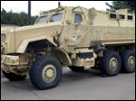 School police departments across the country have taken advantage of free military surplus gear, stocking up on mine resistant vehicles, grenade launchers and scores of M16 rifles. At least 26 school districts across the country participate in the Pentagon's surplus program, which has come under scrutiny after a militarized police response to protests in Ferguson, Missouri.