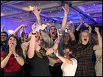 'No' supporters for the Scottish independence referendum celebrate at a hotel in Glasgow early Friday after results showed Scots voted to remain with the United Kingdom.
