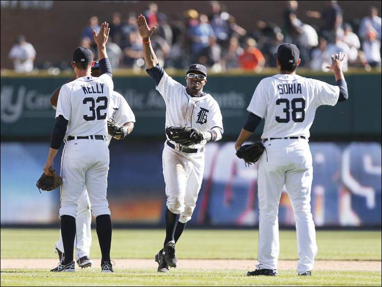 Detroit Tigers' Rajai Davis celebrates their 6-1 win over the Chicago White Sox.