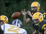 Northview sophomore Matthew Bishop (5) grabs the shotgun snap early in Friday's game in Sylvania.