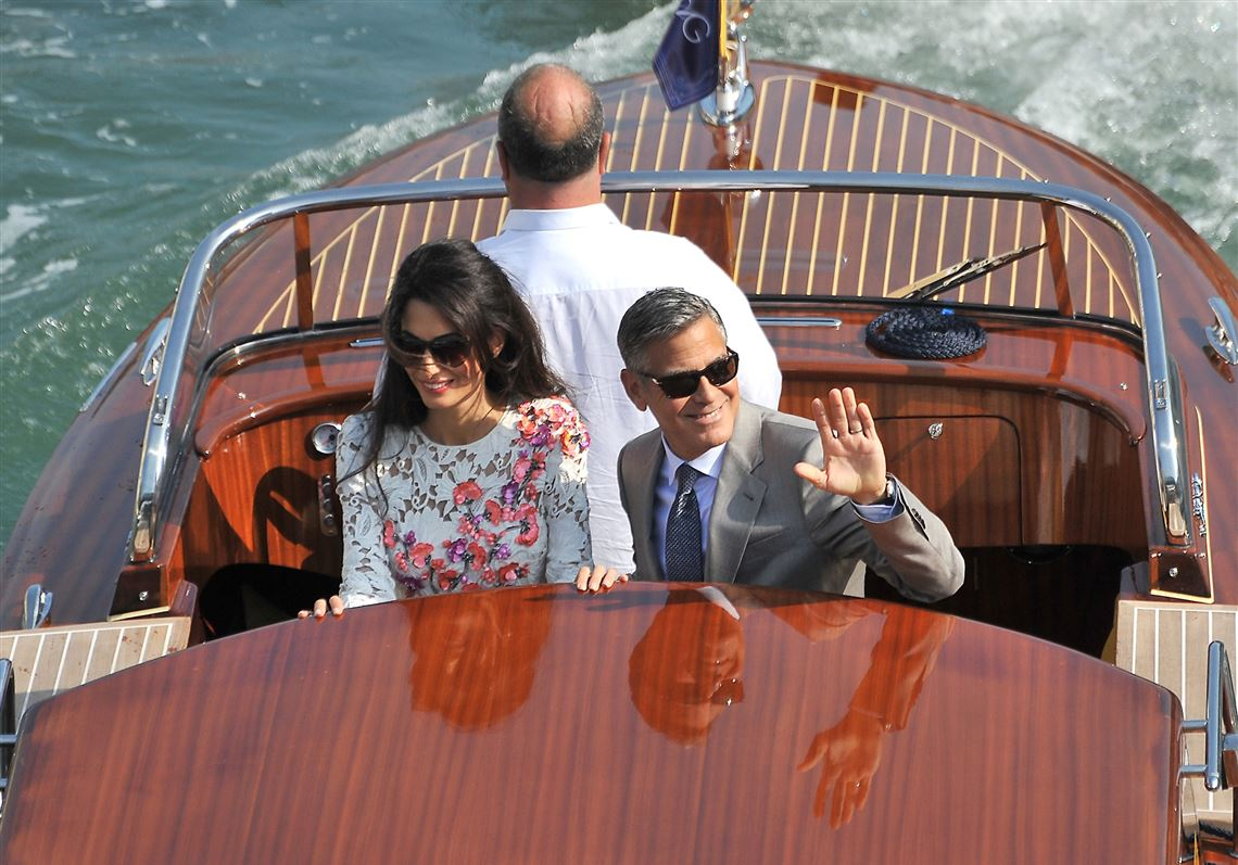 Wedding Bands On Hands Of Clooney And Bride Glint Under The Venetian Sun As Couple Emerges The Blade