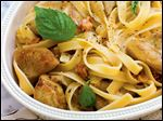 Fettuccine with sauteed artichoke hearts and pancetta.