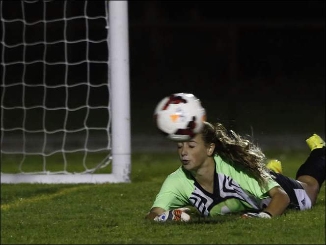 Perrysburg's Allie Michel attempts to make a save against Northview.
