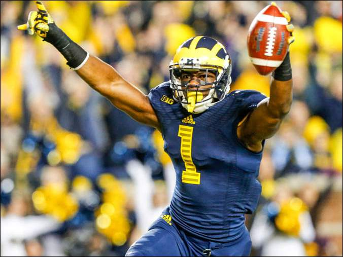 Devin Funchess (1) celebrates scoring a touchdown against Penn State.