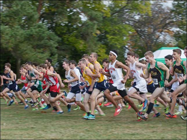 The start of the second event for boys at the meet in Pearson Park.