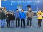 Northview grad Tim Hurst, second from right, stands with members of the student government at the Kuinerrarmiut Elitnaurviat school in Quinhagak, on the coast of Alaska.
