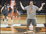 Bowling Green coach Chris Jans oversees a recent practice at the Stroh Center. Jans is beginning his first year with the Falcons after being a Wichita State assistant.