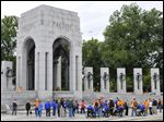 Members of the Honor Flight of Northwest visited the World War II Memorial in October, 2013.