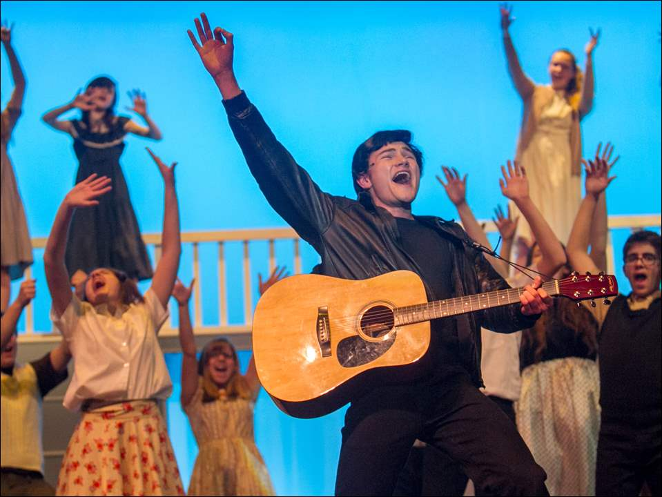 Oliver Greive plays the character Chad during a dress rehearsal of All Shook Up.