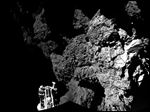 The combination photo of different images  taken with the CIVA camera system  released by the European Space Agency ESA today shows  Rosetta's lander Philae as it  is safely on the surface of Comet 67P/Churyumov-Gerasimenko,  as  these first  CIVA images confirm. One of the lander's three feet can be seen in the foreground. Philae became the first spacecraft to land on a comet when it touched down Wednesday on the comet.