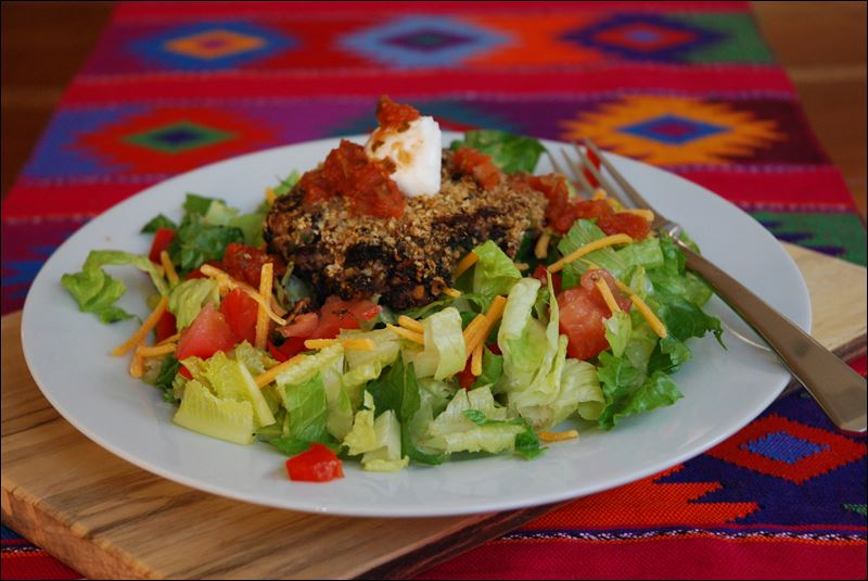 Spicy Black Bean Cakes can be served on a bed of lettuce or on a bun ...