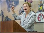 U.S. Rep. Marcy Kaptur (D., Toledo) tells a gathering in Northwood that the Democratic Party has 'difficulty communicating its message on the range of issues that voters care about.'
